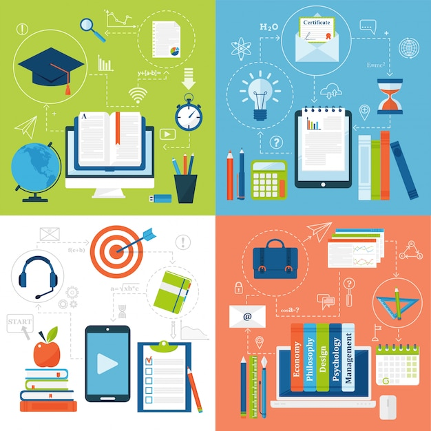 Online onderwijs vlakke pictogrammen vectorreeks afstandsschool en webinarsymbolen. Premium Vector