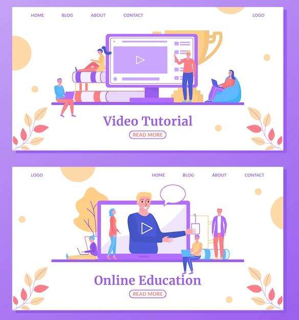 Online onderwijs web leren, universitaire studies landing webpagina's instellen illustratie. Premium Vector
