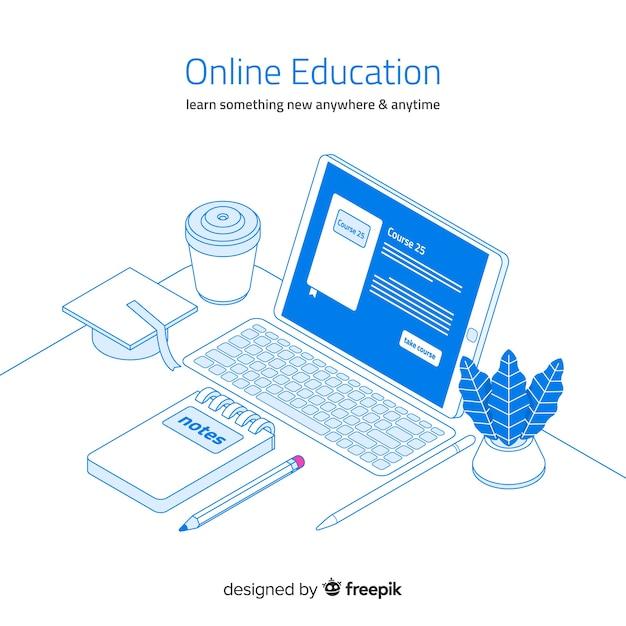 Online onderwijs Gratis Vector