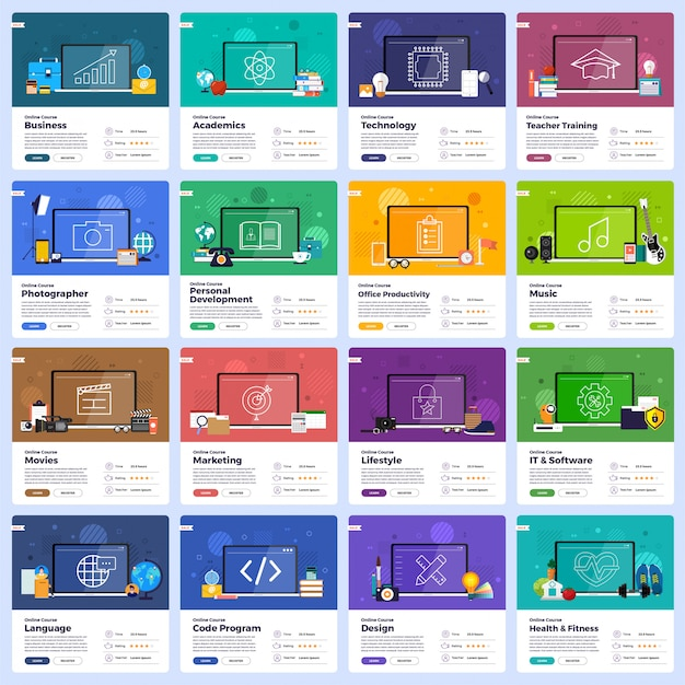 Online onderwijs Premium Vector