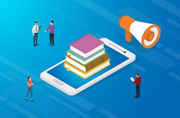 Online onderwijsconcept met boeken en smartphone-apps met teammensen Premium Vector