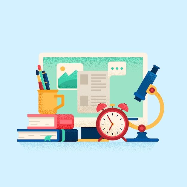 Online onderwijsconcept Premium Vector