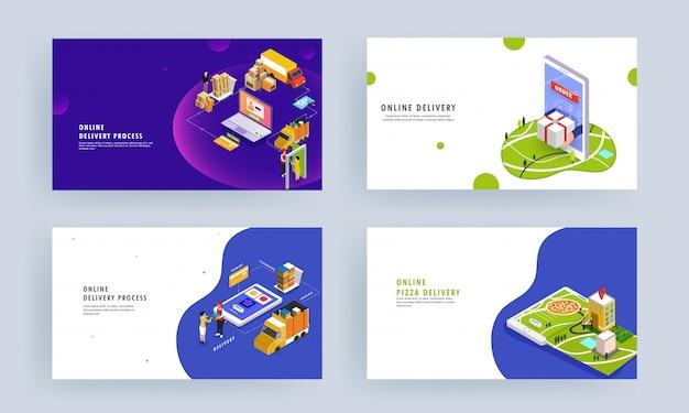 Online op leveringsproces gebaseerd isometrisch ontwerp met productbestelling, verpakking, verzending en koeriersjongen die leveren op het bestemmingspunt. Premium Vector