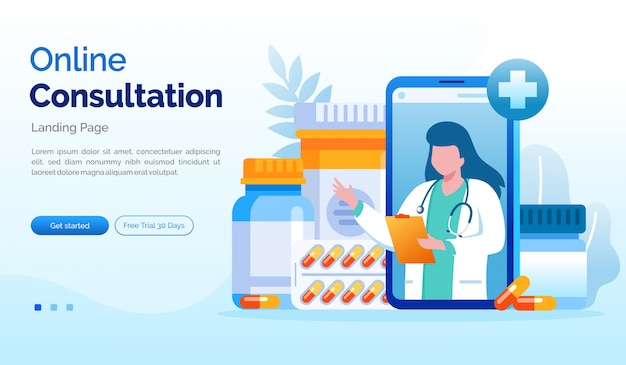 Online overleg bestemmingspagina website illustratie platte sjabloon Premium Vector