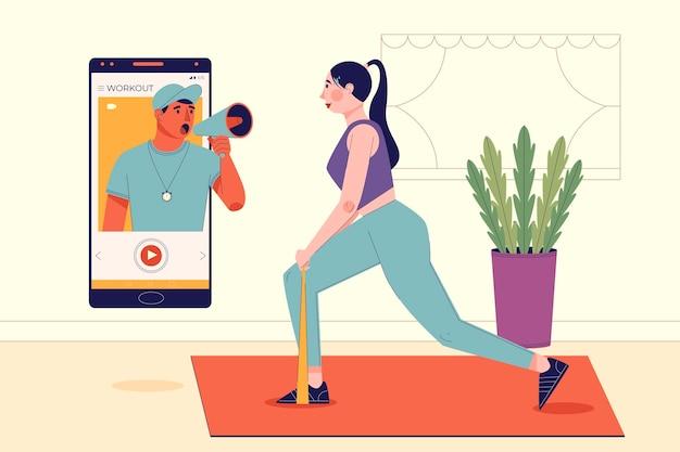 Online personal trainer concept Gratis Vector