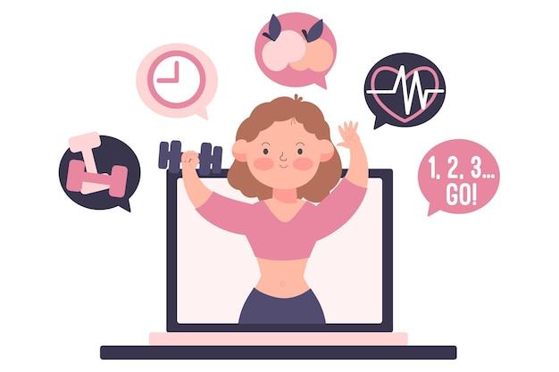Online personal trainer geïllustreerd Gratis Vector