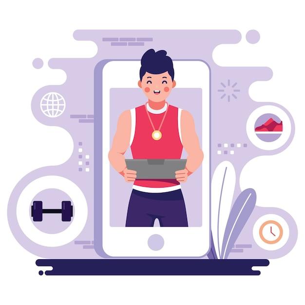 Online personal trainer op smartphone Gratis Vector
