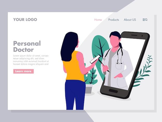 Online persoonlijke arts vector illustratie voor landingspagina Premium Vector