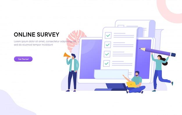 Online polling & enquête illustratie concept, mensen die online enquêteformulier op laptop vullen, om lijstnota te doen Premium Vector