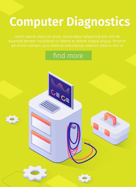 Online poster met auto engine computer diagnostics op moderne apparatuur Gratis Vector
