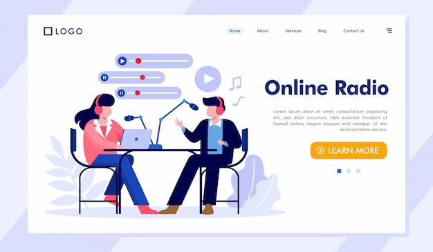 Online radio bestemmingspagina website illustratie Premium Vector