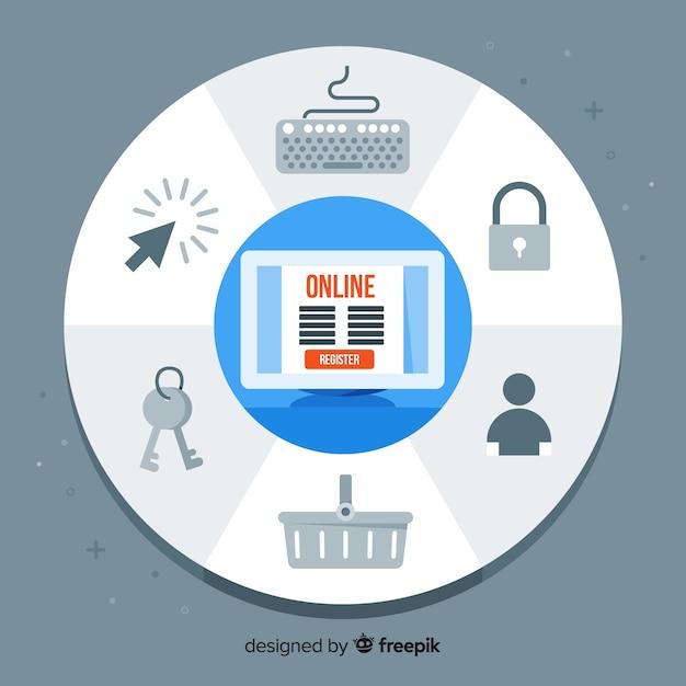 Online registratie Gratis Vector