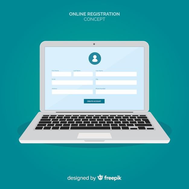 Online registratieconcept met plat ontwerp Premium Vector