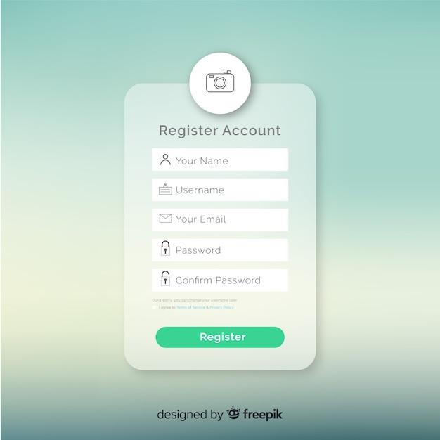 Online registratieformulier Gratis Vector
