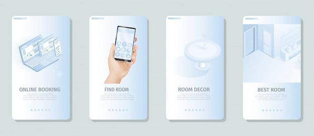 Online reserveren vind de beste banners voor kamerdecoratie Premium Vector