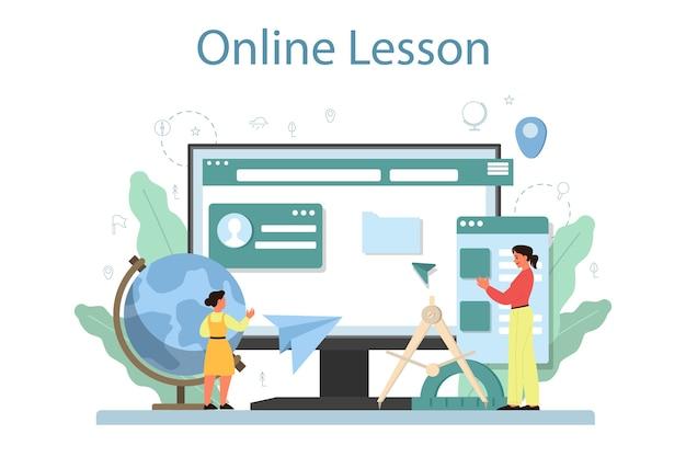 Online service of platform van aardrijkskunde. het bestuderen van de landen, kenmerken, bewoners van de aarde. online les. Premium Vector