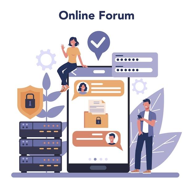 Online service of platform voor cyber- of webbeveiliging Premium Vector