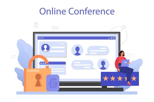 Online service of platform voor cyber- of webbeveiligingsspecialisten. idee van digitale gegevensbescherming en veiligheid. online conferentie. flat vector illustratie Premium Vector
