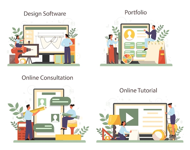 Online service of platformset voor industrieel ontwerper. kunstenaar die modern milieuvoorwerp maakt. online ontwerpsoftware, portfolio, advies, videozelfstudie. geïsoleerde vectorillustratie Premium Vector