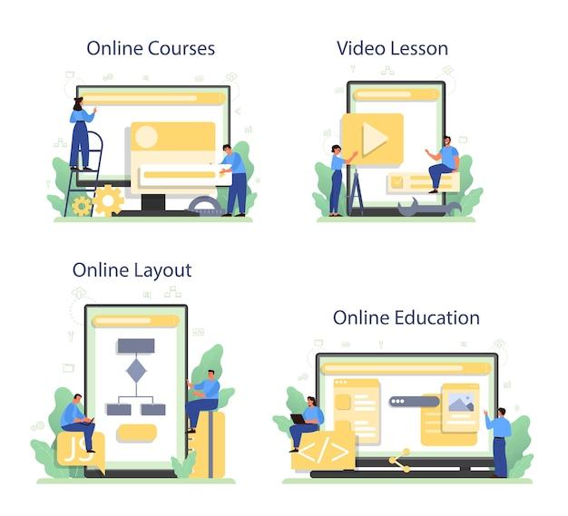 Online service voor frontend-ontwikkelaars of platformset. Premium Vector