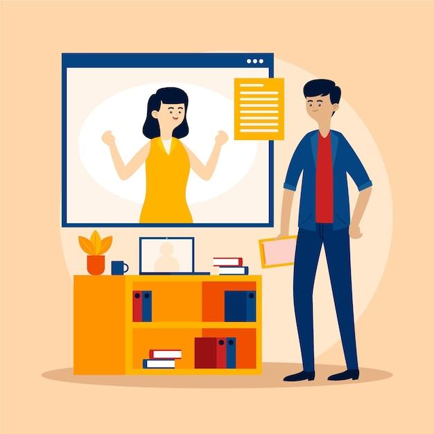 Online sollicitatiegesprek concept Gratis Vector