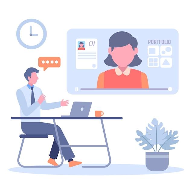Online sollicitatiegesprek concept Premium Vector