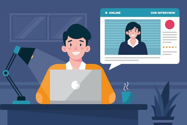Online sollicitatiegesprek Gratis Vector