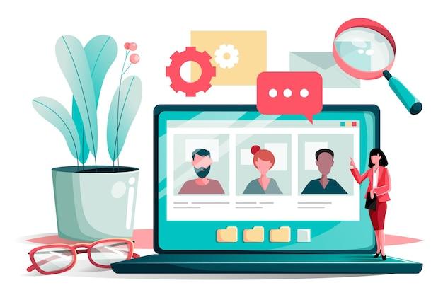 Online sollicitatiegesprek Premium Vector