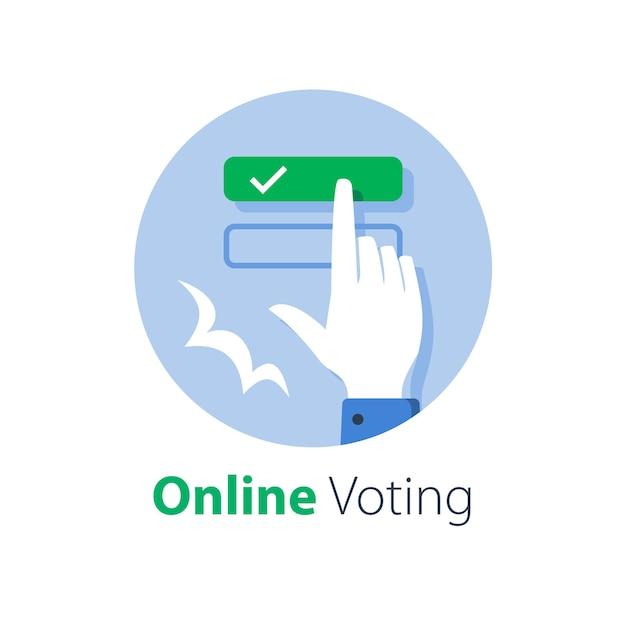 Online stemmen, e-formulier invullen, interneteducatie en -examen, drukknop met handvinger, antwoord selecteren, webregistratie, illustratie Premium Vector