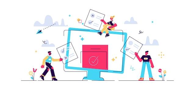 Online stemmen voor mini-mensen illustratie Premium Vector