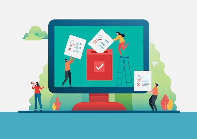 Online stemmen. Premium Vector