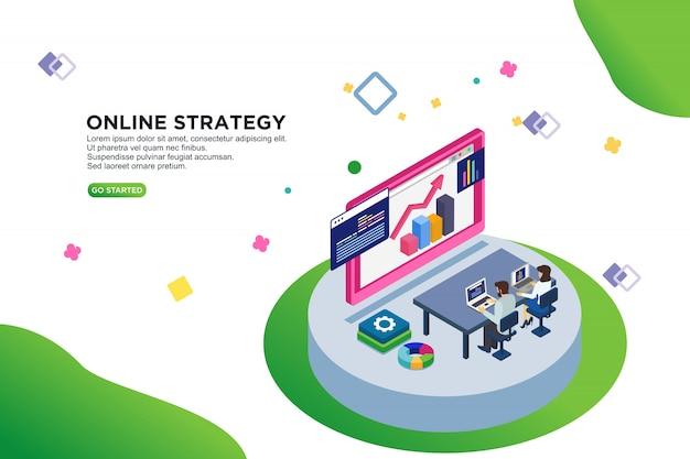 Online strategie isometrische vector illustratie concept Premium Vector