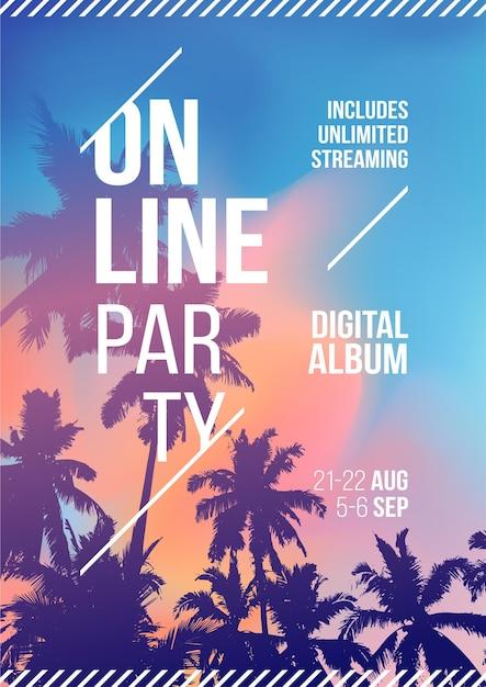 Online stream feest. palmboom op zonsondergang tropische achtergrond. sjabloon a4. creatieve palmboom achtergrond partij poster. evenementen zoals livestreammuziek Premium Vector