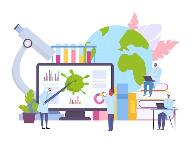 Online studie, medisch onderwijs concept illustratie. wetenschappelijk gezondheidsonderzoek, informatie over virus op het scherm. Premium Vector