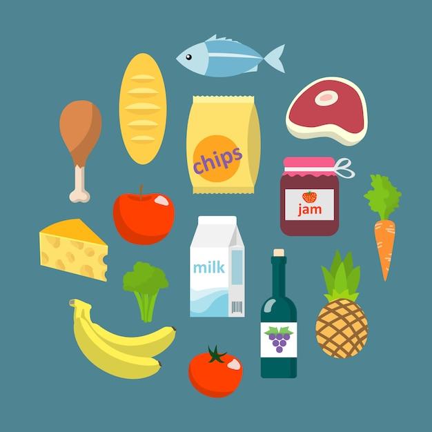 Online supermarkt voedingsmiddelen platte concept Gratis Vector
