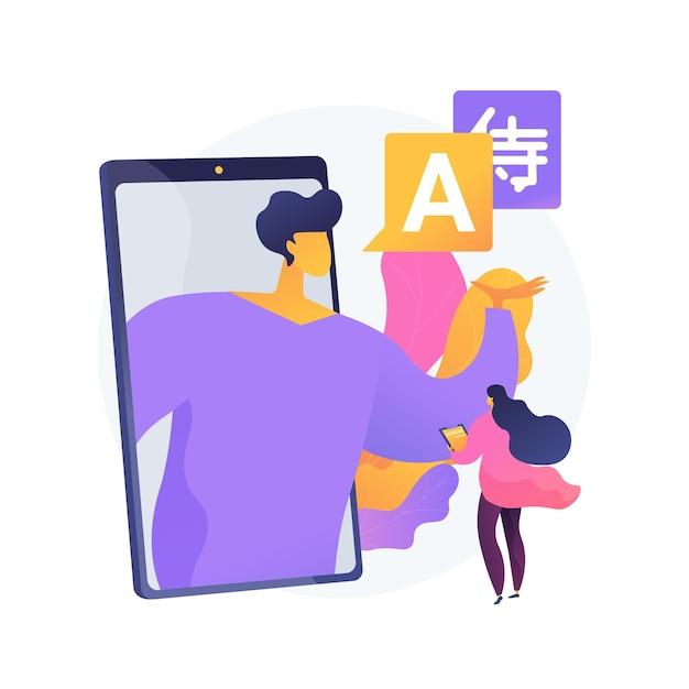 Online taalbegeleiding abstracte concept illustratie. live video-bijles, native speaker les, persoonlijke tutor in, oefenen en spreken verbeteren Gratis Vector