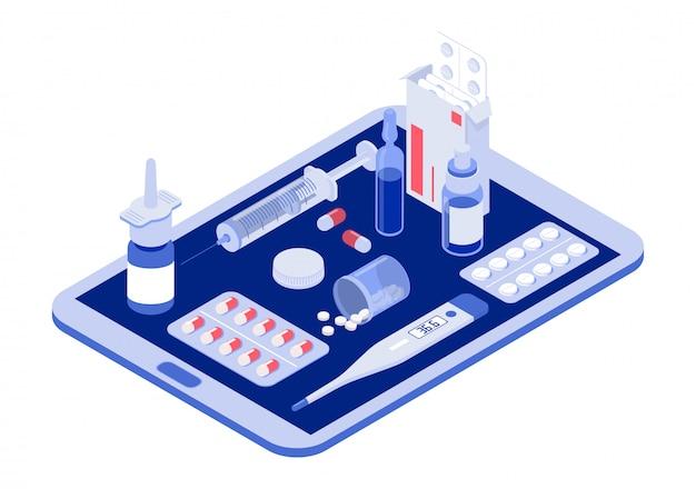 Online tablet met pillen, capsules blisters, glazen flessen, plastic buizen Premium Vector
