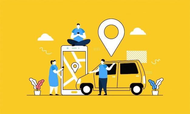 Online taxi banner Premium Vector