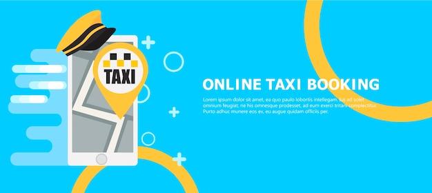 Online taxi boekingsbanner Gratis Vector