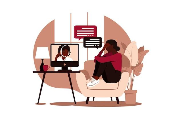 Online therapie en begeleiding bij stress en depressie Premium Vector