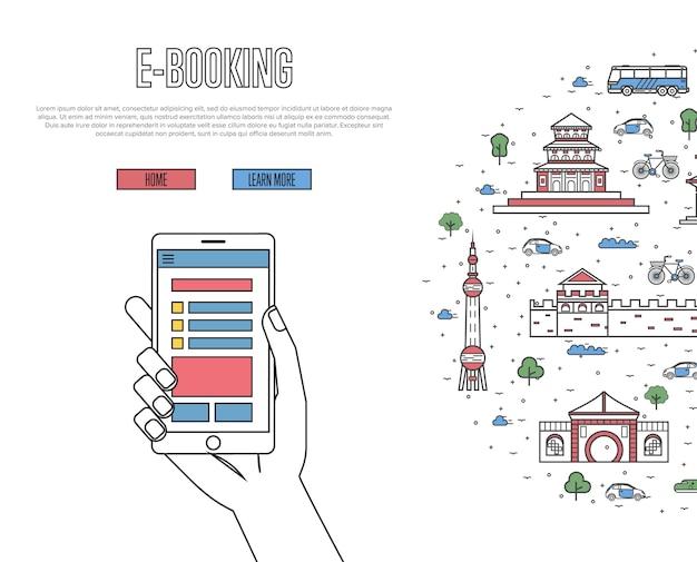 Online tickets bestellen sjabloon in lineaire stijl Premium Vector