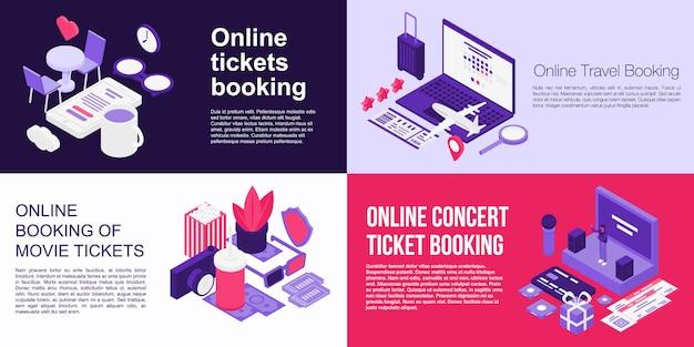Online tickets boeking banner set, isometrische stijl Premium Vector