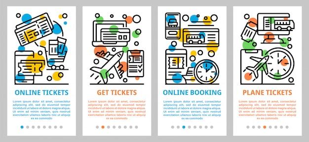 Online tickets boeking banner set, kaderstijl Premium Vector