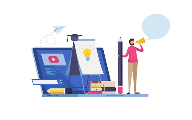 Online training Premium Vector