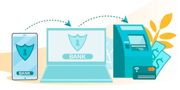 Online transacties en stroomschema voor e-banksystemen Premium Vector