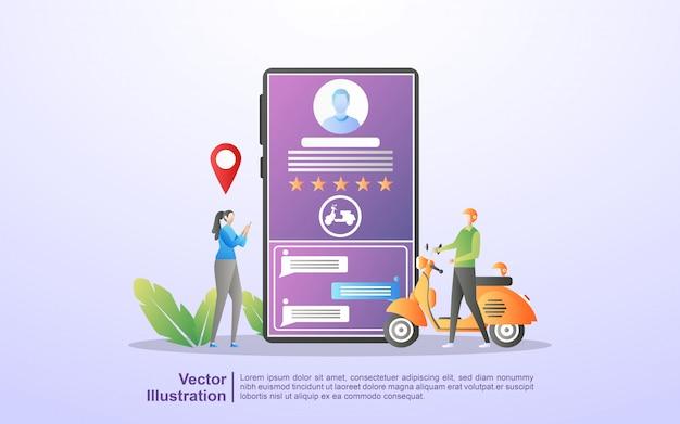 Online transportconcept. mensen bestellen transport via de mobiele app. bestel eten online. Premium Vector