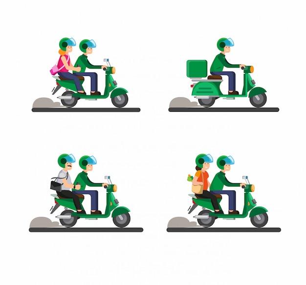 Online transportfietser, motorfiets, tandem, passagier, paar die samen motorfietsillustratie berijden Premium Vector