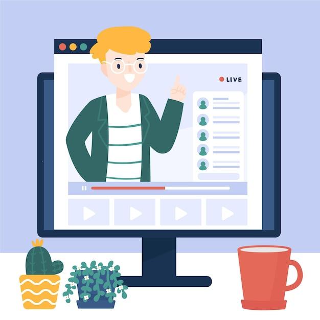 Online tutorial op computer geïllustreerd Gratis Vector