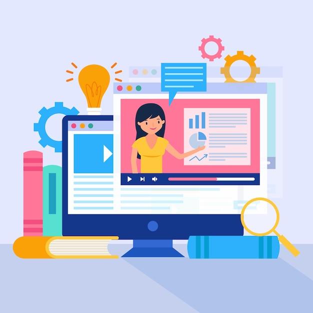 Online tutorials concept Gratis Vector