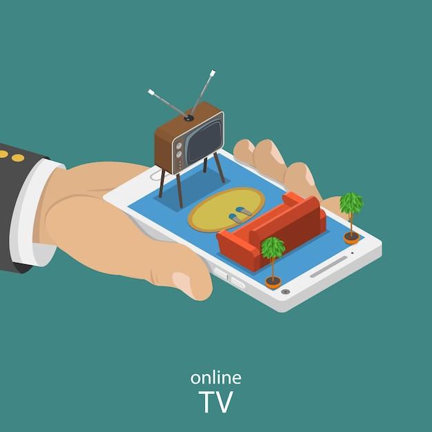 Online tv plat isometrische vector concept. Premium Vector